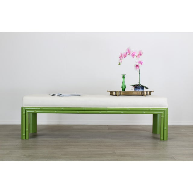 Mid-century faux bamboo bench This faux bamboo bench have been newly painted in an apple green satin finish and...