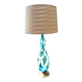 Mid-Century Modern Murano Style Turquoise Swirl Blown Glass Lamp For Sale