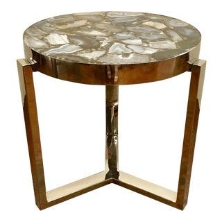 Industrial Style Geode Top Side Table For Sale