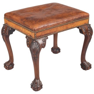 George III Style Mahogany and Leather Stool For Sale