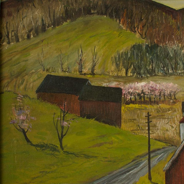 """Mid 20th Century """"Peach Orchard in the Valley"""" Landscape Oil Painting by Charles Harsanyi, Framed For Sale - Image 9 of 13"""