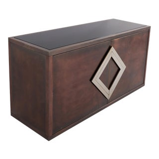 Maison Jansen Red Copper Patinated Brass Credenza With Diamond Door Handle For Sale