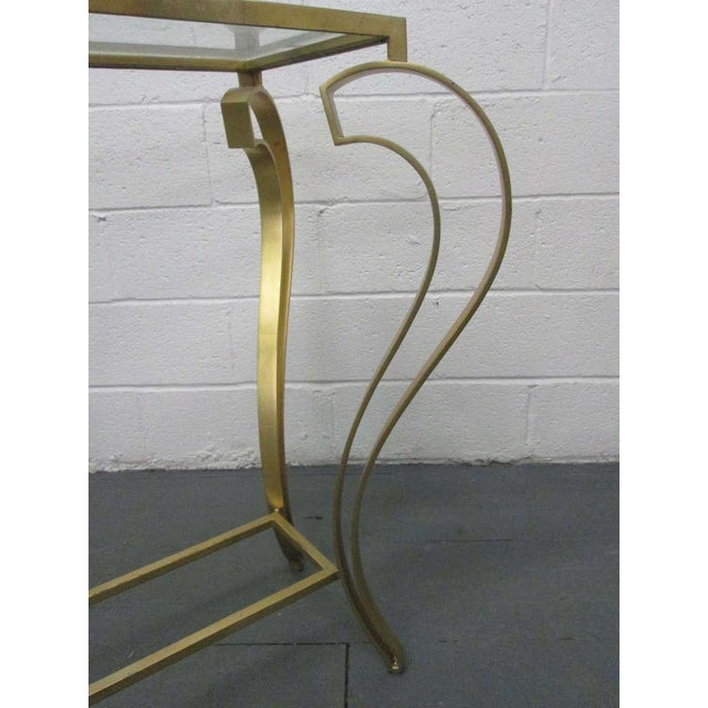 Hollywood Regency Iron Gold Gild Console Table - Image 6 of 6