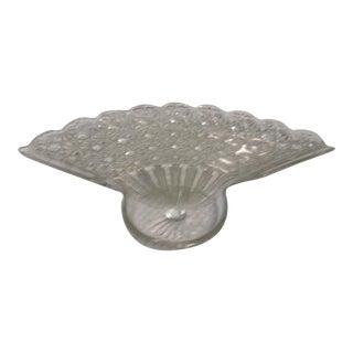 Vintage Art Deco Cut Glass Fan Shaped Dish