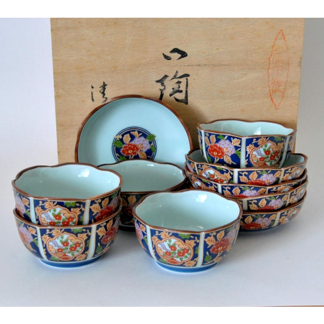 Red Imari Cherry Blossom Tea Cups and Saucers in Hinoki Wood Box - Set of 10 For Sale - Image 8 of 9