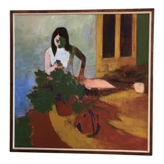 "1960's Abstract Acrylic Painting ""Martha With Plants"" by John Gordon For Sale"