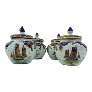 French Faience Boats Cream Pots - Set of 4 For Sale