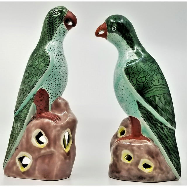 Vintage Chinese Pair of Parrots Figurines - Porcelain Ceramic Glazed Tile Totem Green Bird Animal Tropical Coastal Palm Beach Boho Chic For Sale - Image 13 of 13