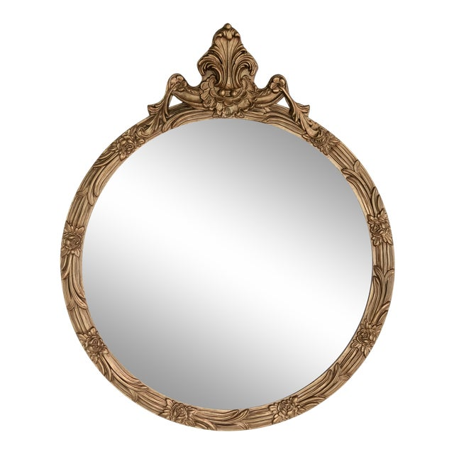 Round Giltwood Mirror With Acanthus Crest For Sale