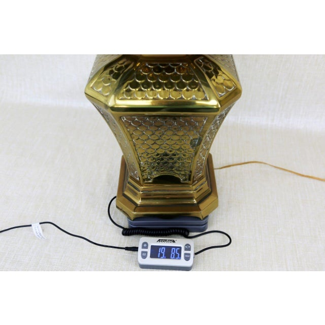 Brass Fish Scale Design Pagoda Lamp For Sale - Image 9 of 10