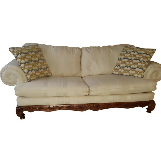 Classic Scroll Arm Ivory Sofa - Image 1 of 4