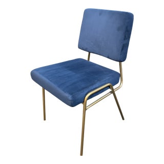 West Elm Wire Frame Navy + Gold Side Chair For Sale