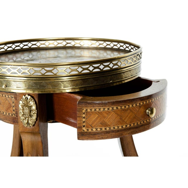 Gold Louis XVI Two-Tier Marble Top Marquetry Side or End Table For Sale - Image 8 of 13