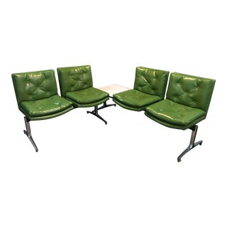 Mid-Century Modern Madison Furniture Co. Green Vinyl Floating Sectionals - A Pair