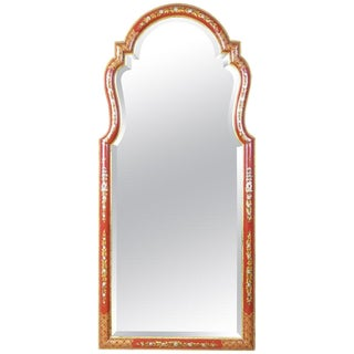 Large Red Chinoiserie Queen Anne Style Mirror For Sale