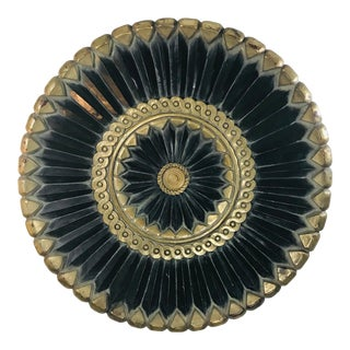 Distressed Hand Carved Round Black & Gold Medallion Wall Decor For Sale