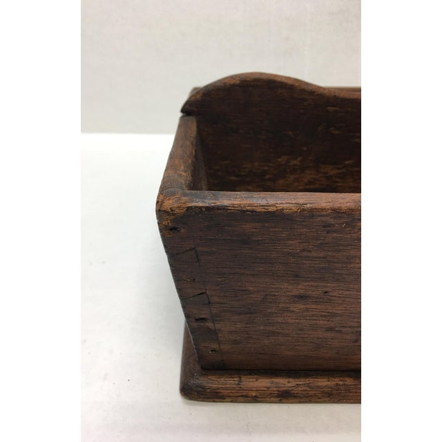 American Classical Antique Primitive Wood Tray Tote - Mid 19th Century For Sale - Image 3 of 9