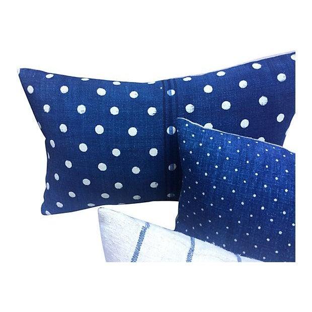 French Indigo Grain Sack Pillows- Set of 3 - Image 4 of 5