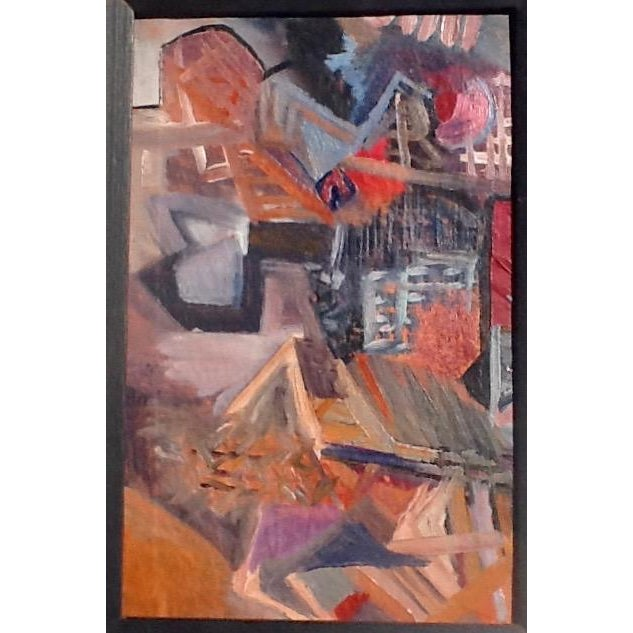 A colorful, cubist inspired rendition of a European village from a collection of mid-century modern paintings. Unsigned,...