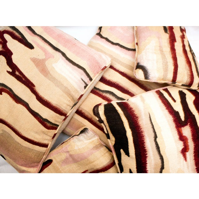 Vintage Pink Raw Silk Marbled Pillow For Sale - Image 4 of 4