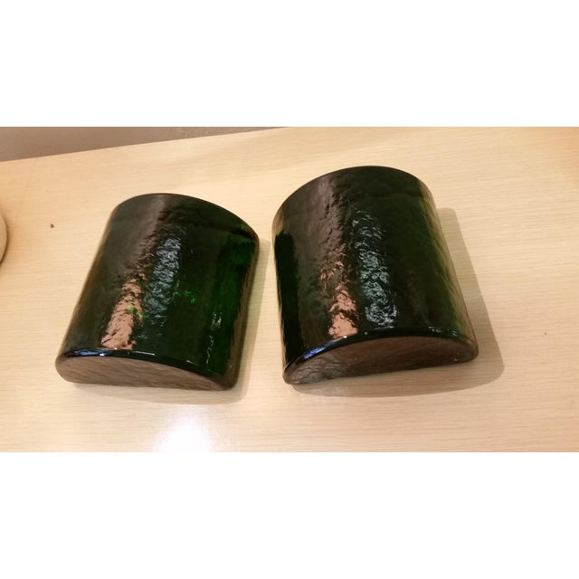 Blenko Art Glass Forest Green Bookends - A Pair - Image 6 of 7