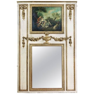 Louis XVI Style Giltwood and Crème Painted Trumeau For Sale