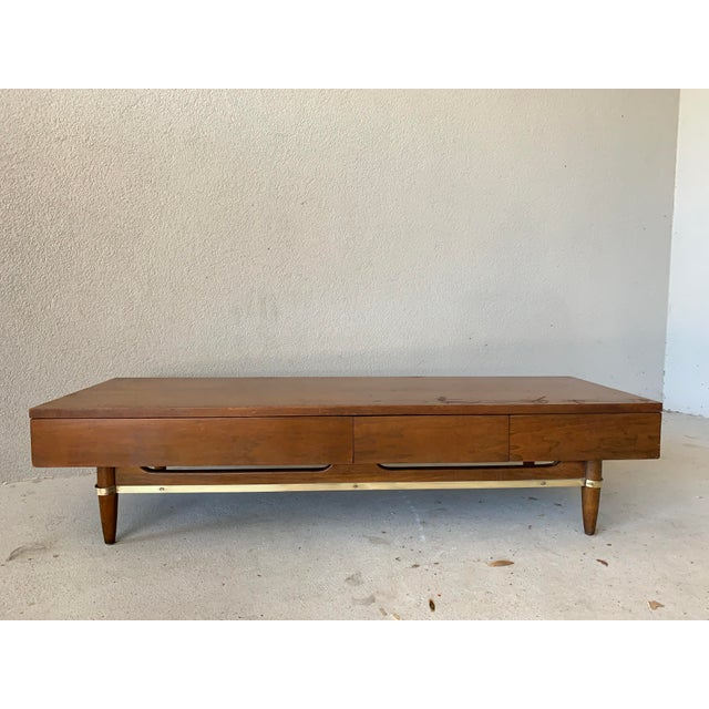 Brown Vintage Mid-Century American of Martinsville Dania Modular Bench & Chest of Drawers For Sale - Image 8 of 12