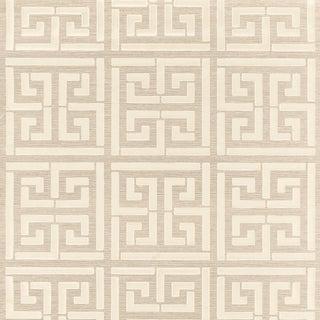 Schumacher Greek Key Sisal Wallpaper in Silver For Sale