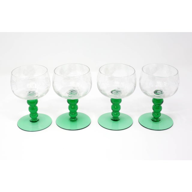 Mid-Century Cordial Glasses With Etched Grapes and Leaves - Set of 4 For Sale - Image 12 of 12