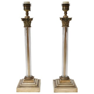Neoclassical Bronze and Crystal Corinthian Column Table Lamps - a Pair For Sale