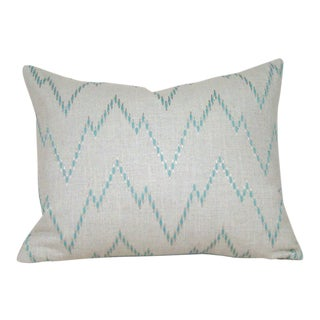 Aqua Embroidered Chevron Pillow Cover For Sale
