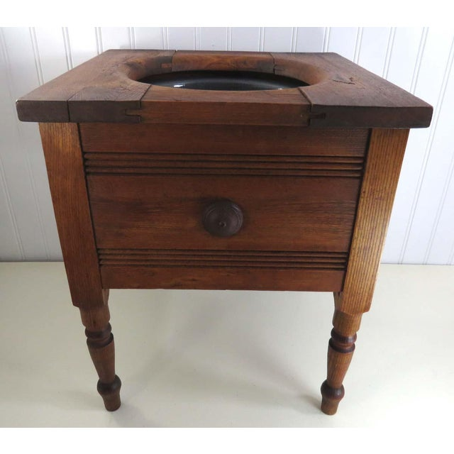 Antique Oak Potty Chair Planter - Image 2 of 10