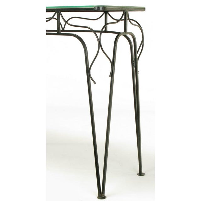 Salterini Attr. Black Wrought Iron & Mirror Top Petite Console For Sale - Image 10 of 10