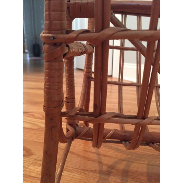 Wood Vintage Bamboo & Rattan Magazine Holder For Sale - Image 7 of 8