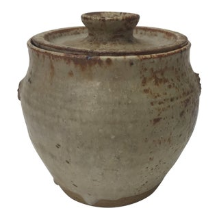 Mid-Century Modern Hand Thrown Brown and Beige Lidded Decorative Art Pottery For Sale