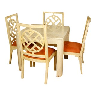 Enrique Garcel Lacquered Bone Games Table with Four Chairs For Sale