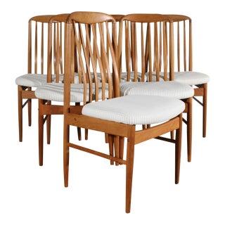 Benny Linden Bl10 Set of Six Danish Modern Teak Dining Chairs For Sale