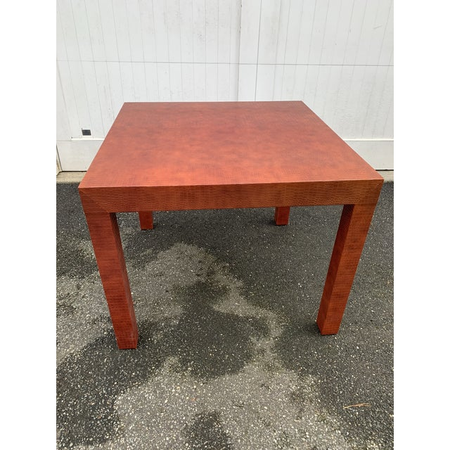 Mid-Century Modern Wrapped Faux Crocodile Parsons Side Table For Sale - Image 3 of 13
