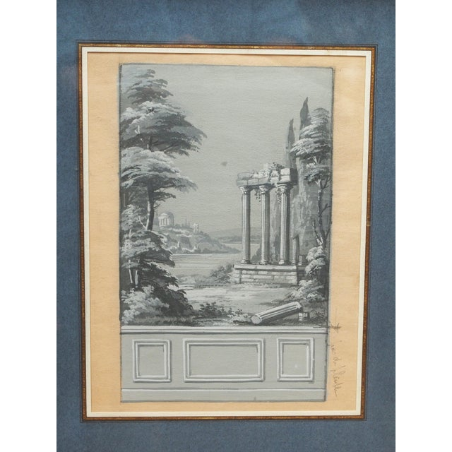 Louis XVI An early 19th century grisaille study for a wallpaper panel For Sale - Image 3 of 6