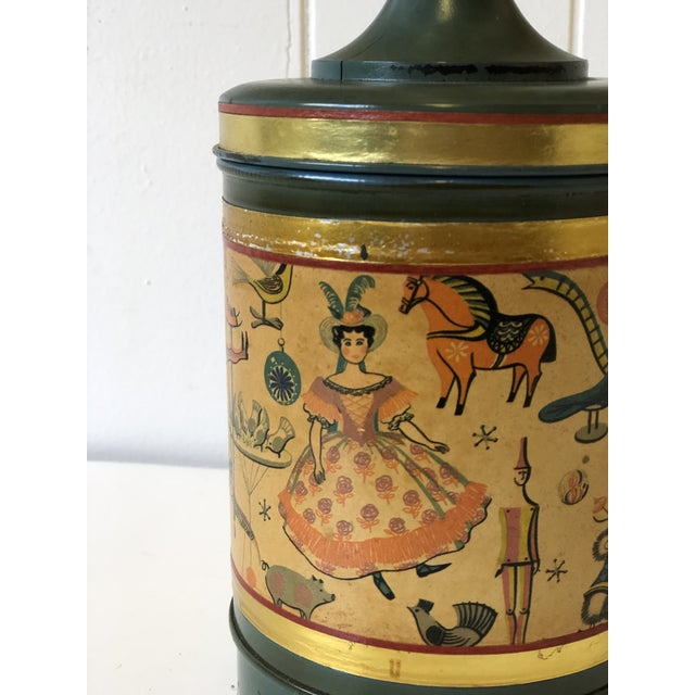 Art Deco Child's Lamp of Tole With a Toy Themed Paper Applique For Sale - Image 9 of 12