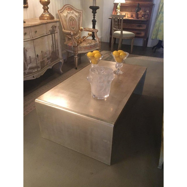 Silver Waterfall Coffee Table With Silver Leaf Finish in the Style of Jean Michel Frank For Sale - Image 8 of 9