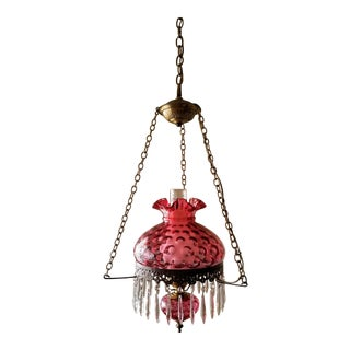 Fenton Cranberry Coin Dot Gwtw Pendant Lamp