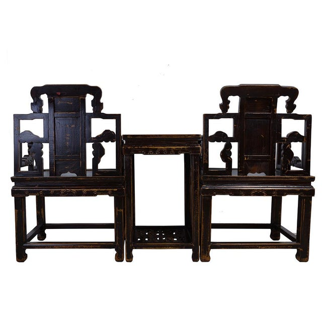 Antique Chinese Carved Official Arm Chairs & Tea Table - Set of 3 For Sale - Image 12 of 13