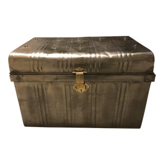 Large Vintage Industrial Metal Trunk For Sale