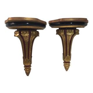 Gilt Wood Wall Brackets - a Pair For Sale