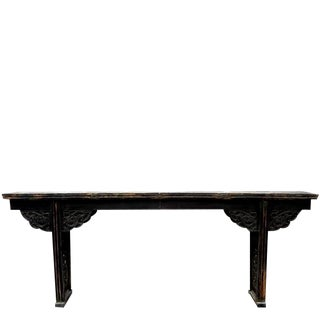 Chinese Flat Top Altar Table With Carved Dragon Spandrels