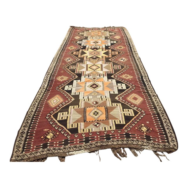 Large Brown Turkish Kilim Runner For Sale