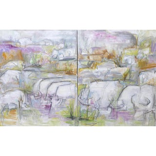 "Extra-Large Oil Diptych Painting by Trixie Pitts ""On Safari"""