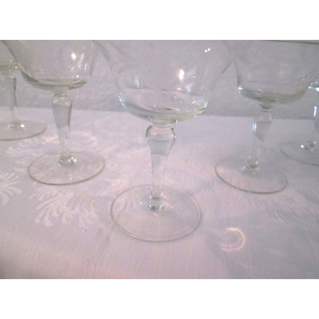 Mid-Century Etched Grape Cocktail Coupes - S/6 - Image 6 of 6