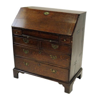 Circa 1740 Georgian English Oak Slant Front Desk